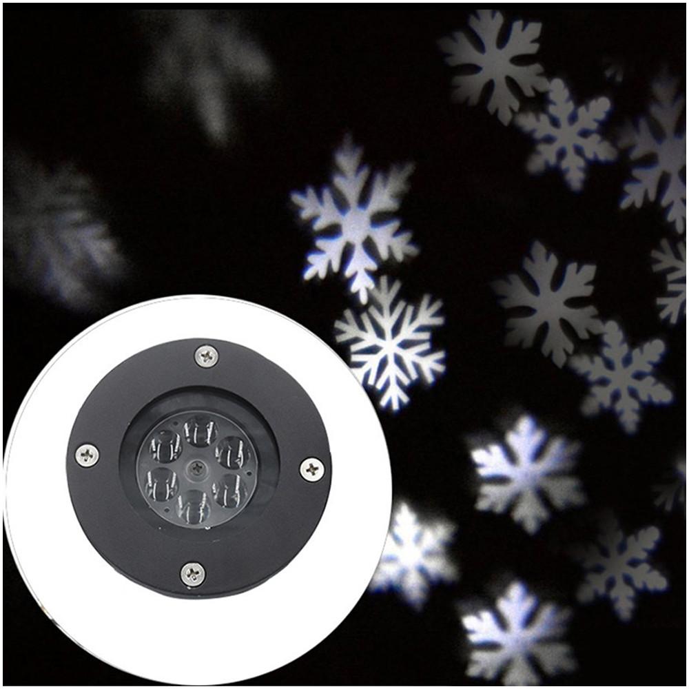 Christmas Landscape Lights Projector Christmas Light Moving White Snowflake Spotlight LED Light for Holiday Christmas Tee Garden