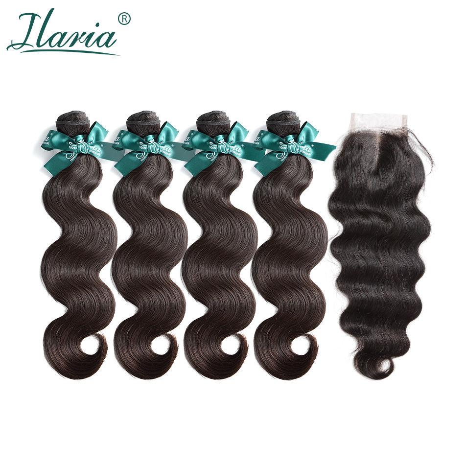 ILARIA HAIR Brazilian Human Hair Bundles With Closure Body Wave 100% Human Hair Weave 4 Bundles With Lace Closure Free Shipping