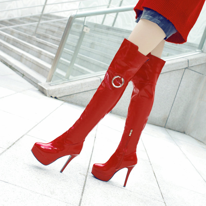 Women's Patent Leather Over The Knee Boots Sexy Thin High Heel Thigh Boots Platform Round Toe Winter Fashion Ladies Shoes jialuowei women sexy fashion shoes lace up knee high thin high heel platform thigh high boots pointed stiletto zip leather boots