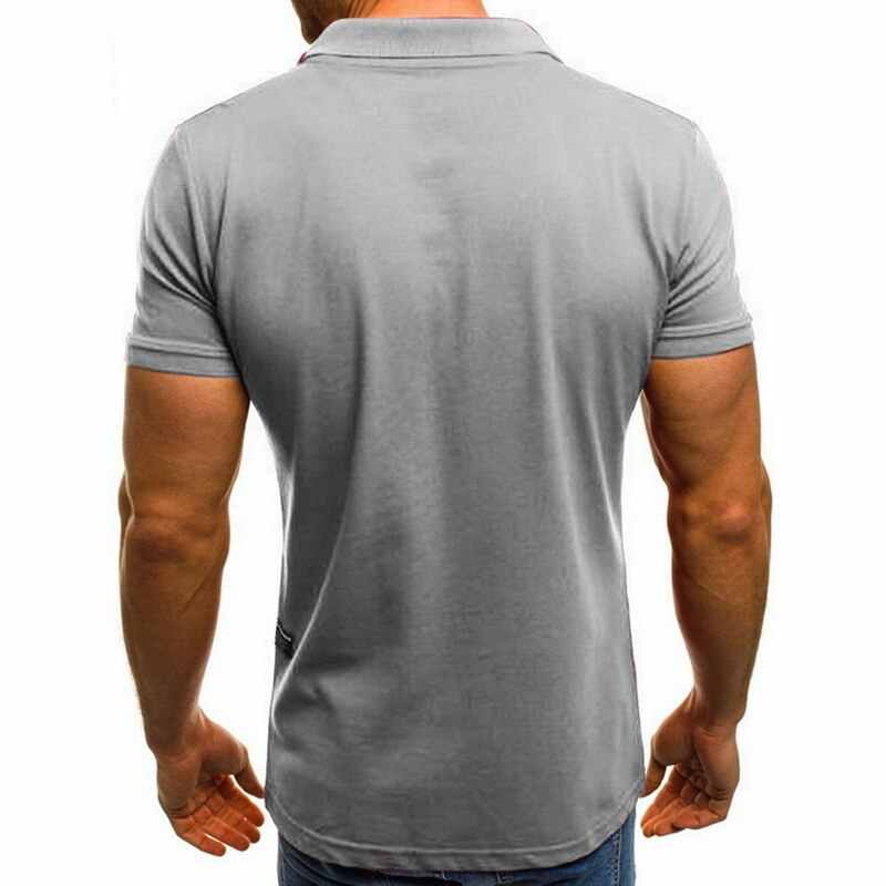 Fashion Zipper Pria Polo Shirt Merek Lengan Pendek Slim POLO Kemeja Warna Solid Turn Down Leher Atasan Pria Musim Panas Kasual atasan