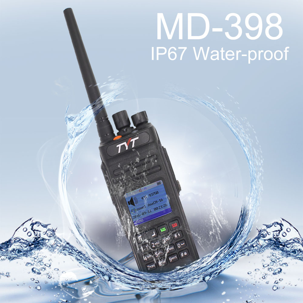 TYT Two Way Radio MD-398 VHF136-174MHz Or UHF400-470MHz Walkie Talkie IP67 Waterproof DMR Digital Radio MD398 10W Intercom