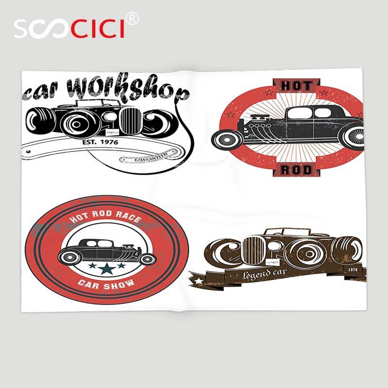 Impression d'emblème automobile de Style rétro Pop Art de voitures de couverture de jet d'ouatine molle faite sur commande avec le vieux en détresse de Grunge