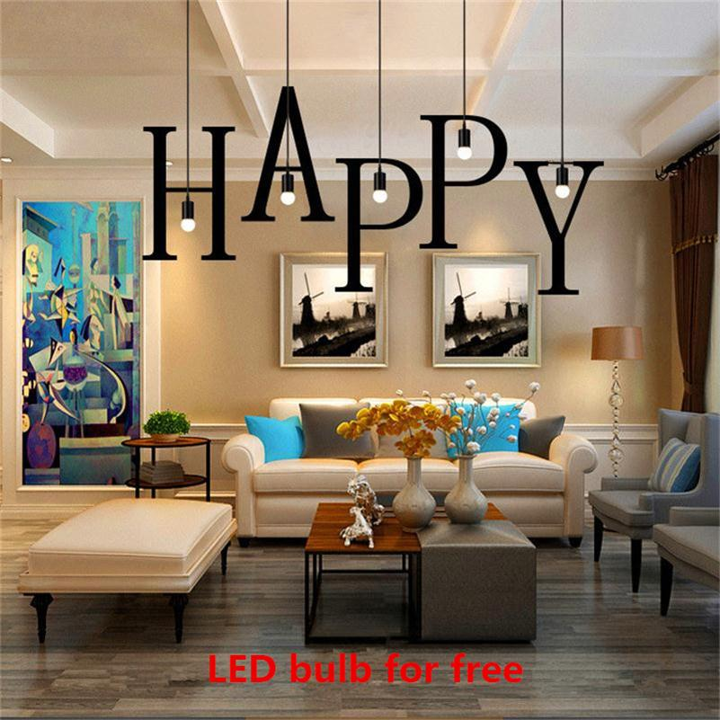 Modern 26 Letters LED Pendant lights Iron DIY Home Industrial Lighting Nordic Hanging Lamp Dining Living Bar Cafe E27 Dropligts modern iron pendant lights restaurant bar cafe led pendant lamp living room bedroom study hanging light industrial lighting