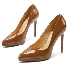 2019 Women Extreme 11cm High Heels Genuine Leather Pumps Female Lady Wedding Platform Red Black Pointed Toe Shoes E0002