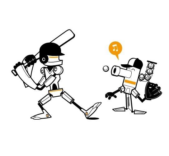 1104 Cute Robot Robots play baseball Design Style