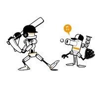 1104 Cute Robot Robots Play Baseball Design Style Removable Waterproof Vinyl Cartoon Sports Wall Sticker Nursery