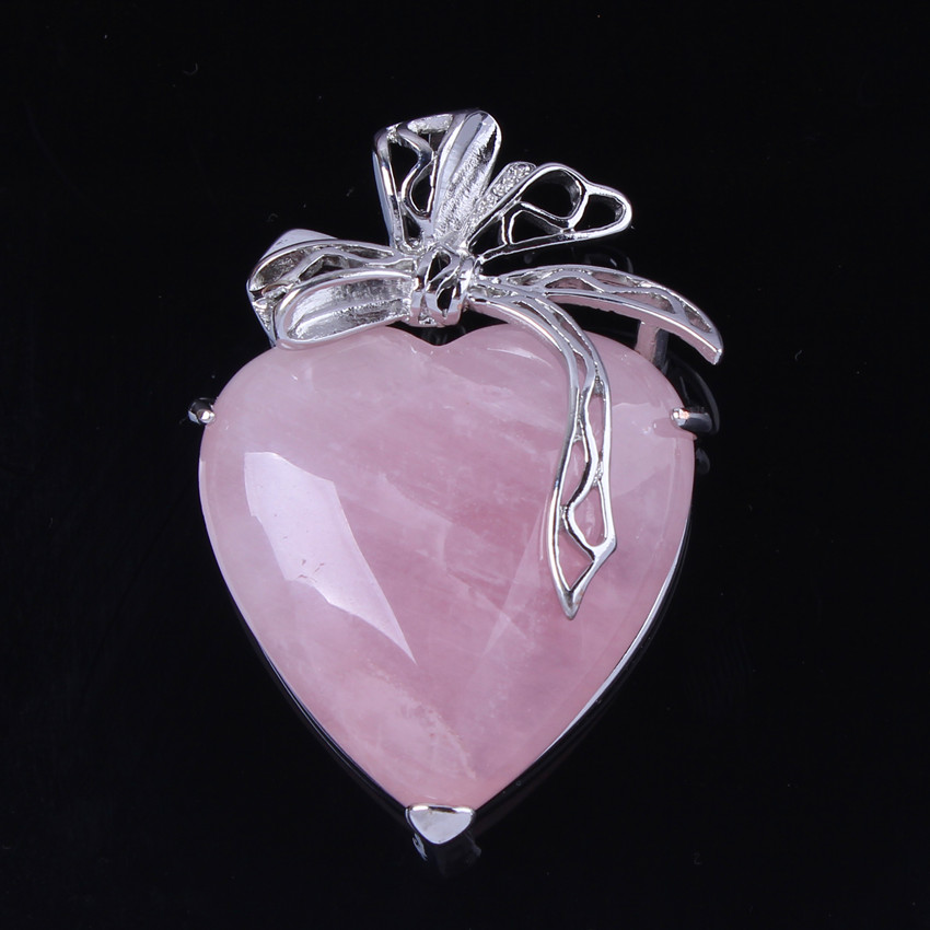 100-Unique 1 Pcs Charm Silver Plated Powder Natural Rose Pink Quartz Crystal Heart Pendant Jewelry For Lovers