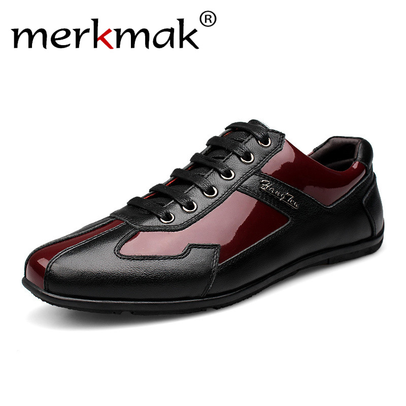 цена на Luxury Brand Fashion Genuine Leather Men Shoes 2018 New Leather Men Casual Shoes High Quality Plus Size 36-48 Flat Shoes For Men