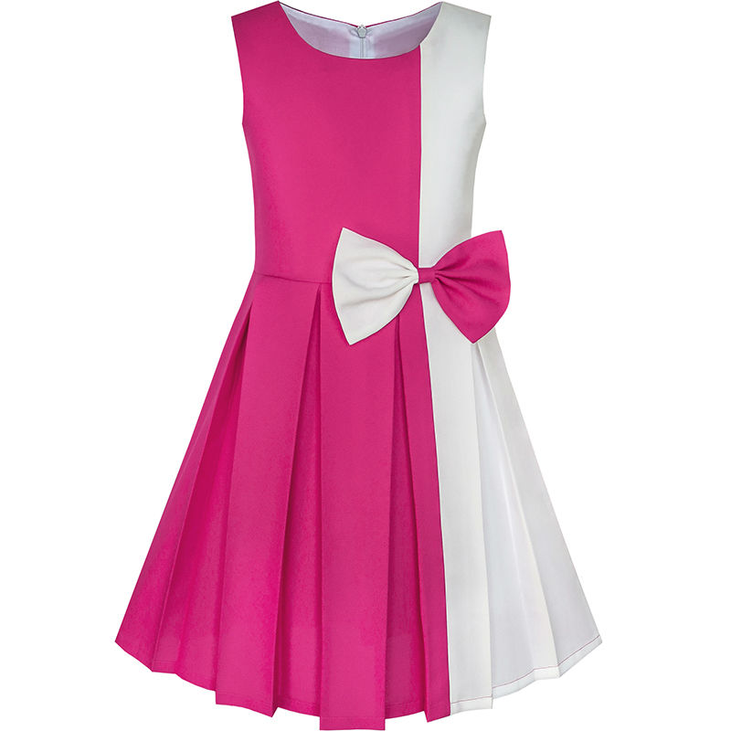 Sunny Fashion Girls Dress Color Block Contrast Bow Tie Everyday Party 2018 Summer Princess Wedding Dresses Clothes Size 4-14 contrast bow flat sliders