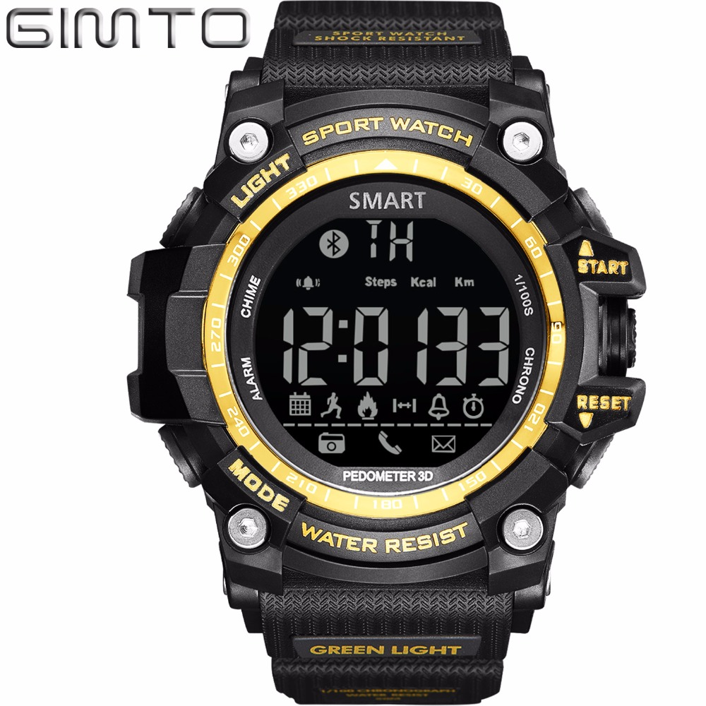 2017 Men Smart Watch Silicone LED Digital Sport Watch Men Waterproof Chronograph Diving Electronic Wrist Watch For IOS Android