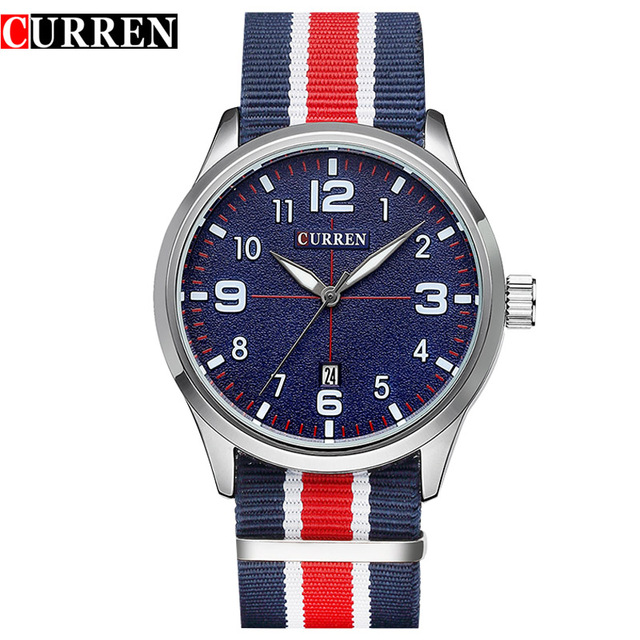 New Curren Watches Men Top Brand Luxury Mens Nylon Strap Wristwatches Men's Quartz Popular Sports Watches Relogio Masculino 2016