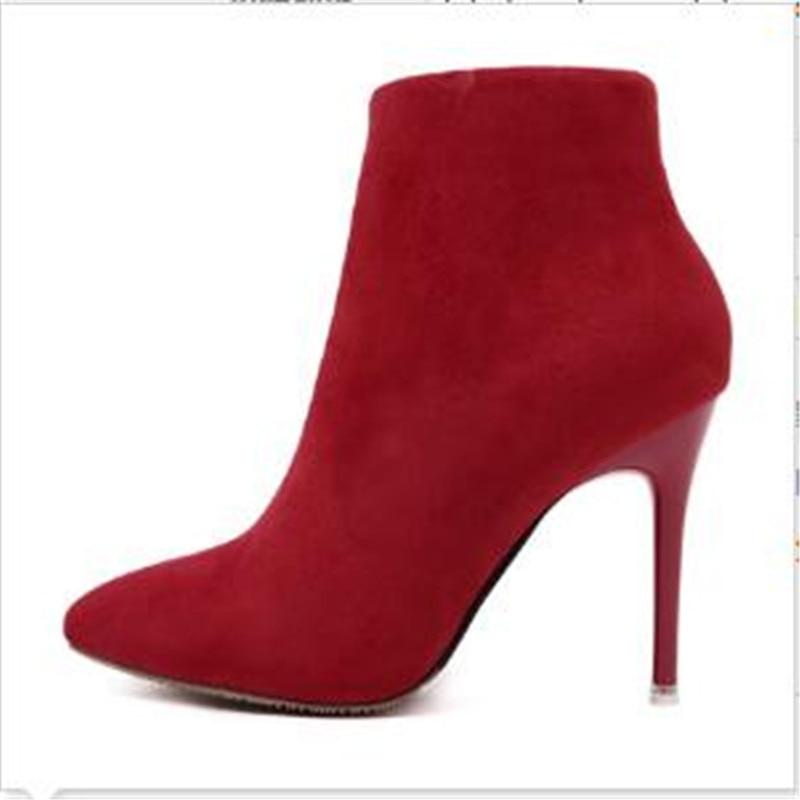 Altos 3 Tacones Zip Toe Botas 2017 Moda 7 Mujer 2 8 Gris Rojo Invierno Thin Boda 5 Rosa 1 6 Naranja Púrpura 4 Otoño Point Azul xFFfRqvP