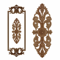 VZLX Flower Carving Natural Wood Appliques For Furniture Cabinet Unpainted Wooden Mouldings Decal Decorative Figurine Applique