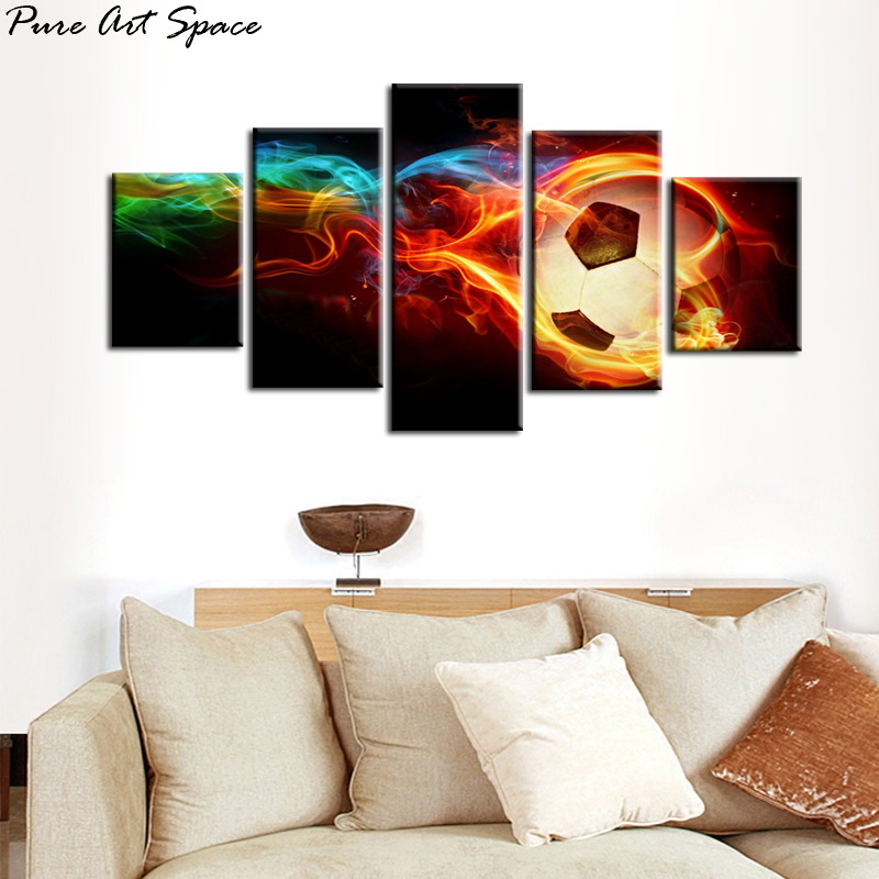 5 Piece Wall Art Canvas Prints Flaming Soccer Paintings Modern Football Pictures Poster Soccer Living Room Wall Decor
