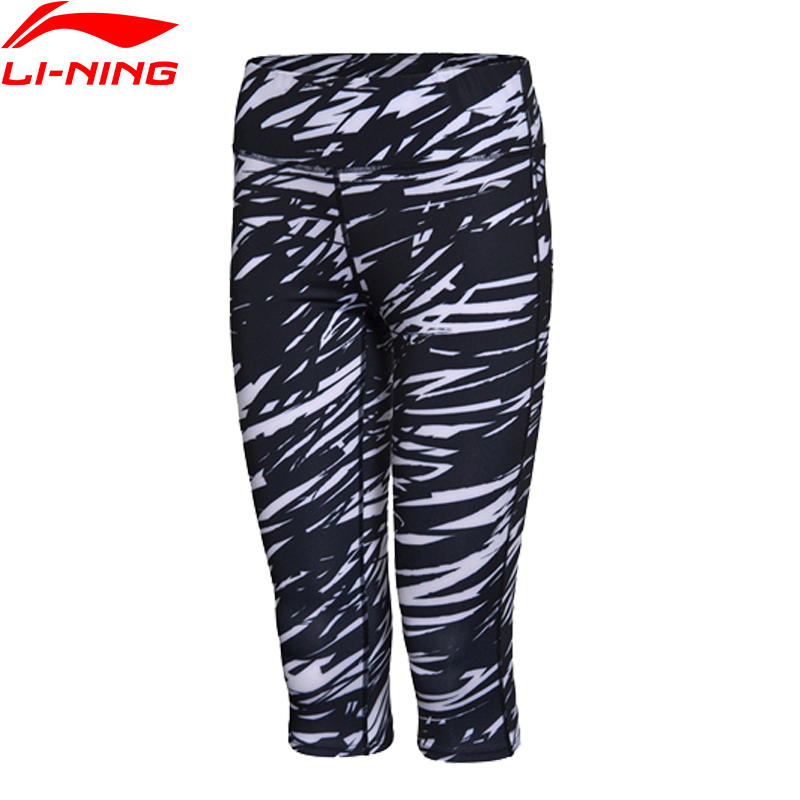 (Clearance)Li-Ning Women 3/4 Training Layer Shorts AT DRY 88% Polyester 12% Spandex LiNing Sports Shorts AUQM018 WKY096(China)