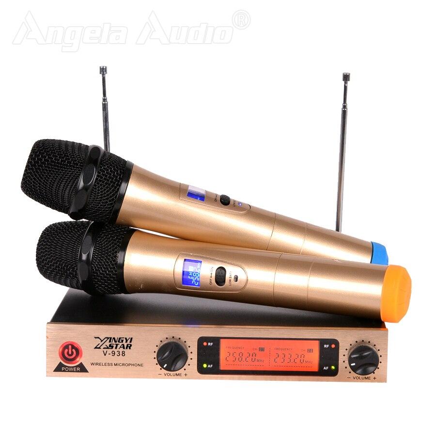 Système de Microphone sans fil karaoké professionnel récepteur 2 canaux double micro sans fil portable en métal pour l'enseignement de scène KTV