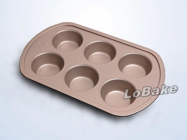 6 Bicchieri di Metallo cupcake stampi Da Cucina Antiaderente Cottura ...