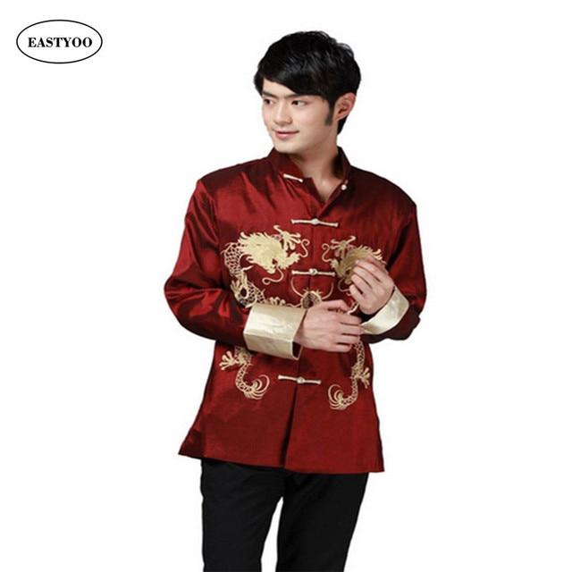 cdef6a9178b Dragon Shirts Men Silk Jackets Mandarin Collar Shirt Plus Size 3XL Wedding  Jacket Long Sleeve Kung Fu Shirt Chinese Tang Tops