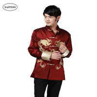 Dragon Shirts Men Silk Jackets Mandarin Collar Shirt Plus Size 3XL Wedding Jacket Long Sleeve Kung Fu Shirt Chinese Tang Tops