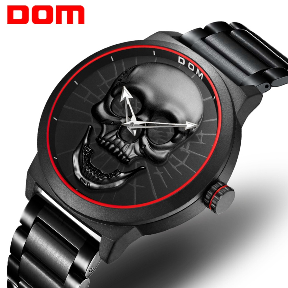Men's Watches DOM Creative Skull Style Wristwatch Top Brand Luxury Luminous Quartz Sport Men Watch Reloj Hombre M-1231D