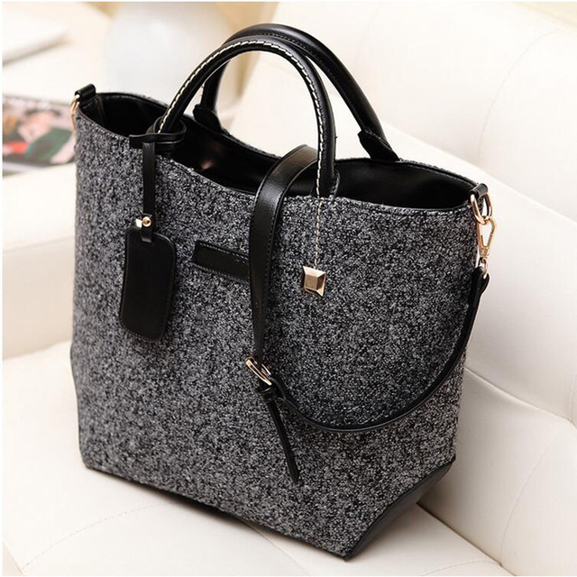 2017 New Fashion Famous Brand Women Bucket Retro Leather Handbag Woolen Design Shoulder bag for ladies Female Tote Bags LJ600