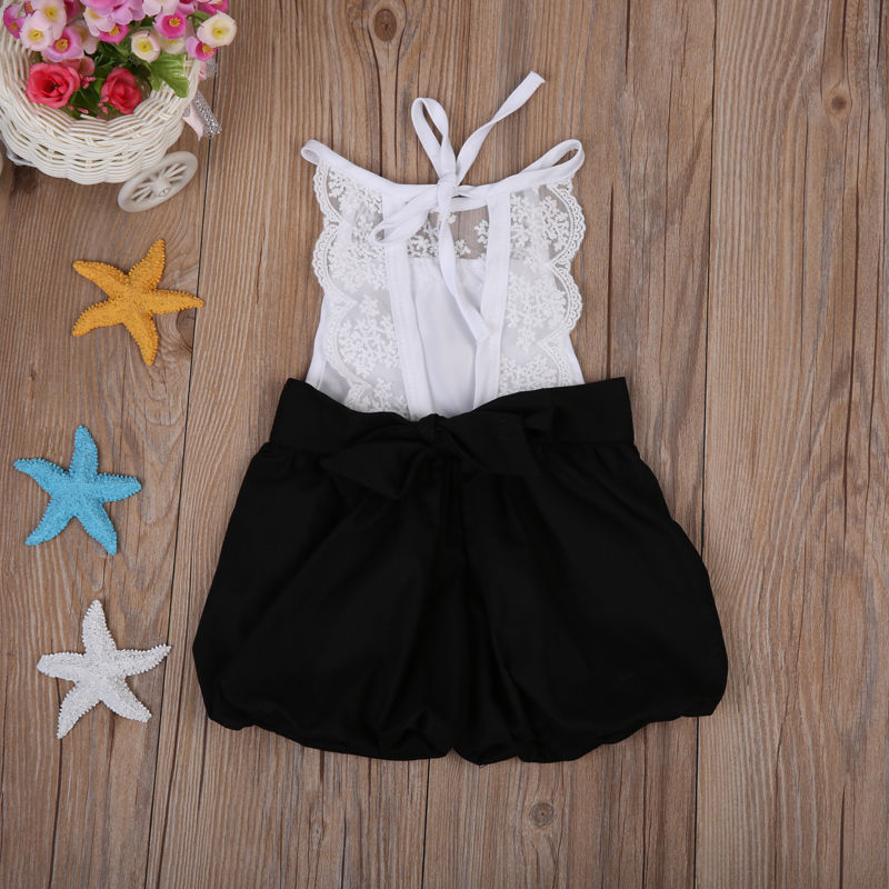 278dc4059bc2 Girls Sleeveless Cute Jumpsuit Outfits Clothes Fashion Kids Baby Girls  Clothing Lace Romper Ruffle Shorts 0 5 T-in Rompers from Mother   Kids on  ...