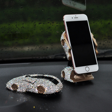Mobile phone holder Mobile phone bracket holder Mobile phone stand with clear crystal Car decorations 1 pc mobile phone holder cartoon mini portable fixed holder home supplies mobile phone remote control bracket holder
