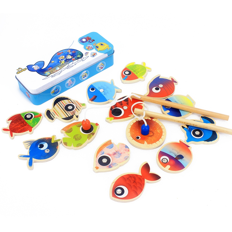 Baby Wooden Fishing Toys Magnetic Fishes & Fishing Rods Set Fishing Play Game Iron Box Toddler Preschool Education 3 Years Gift