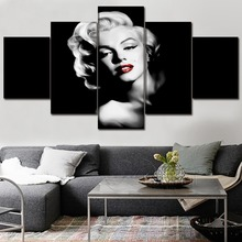Canvas House Spray Frame Painting 5 Pieces Marilyn Monroe Modern Wall Pop Art Prints Home Decor Modular Hang Pictures Poster