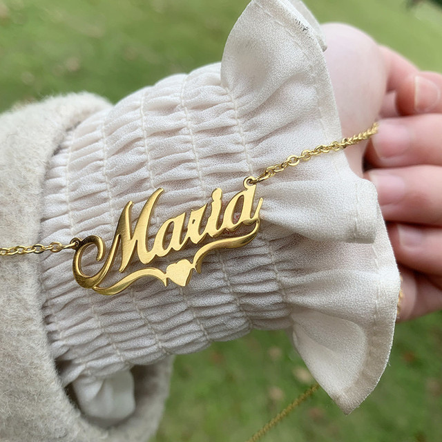 Handmade Custom Name Personalized Name Necklaces for Women Men Stainless Steel Jewelry Gold Filled Heart Statement Choker