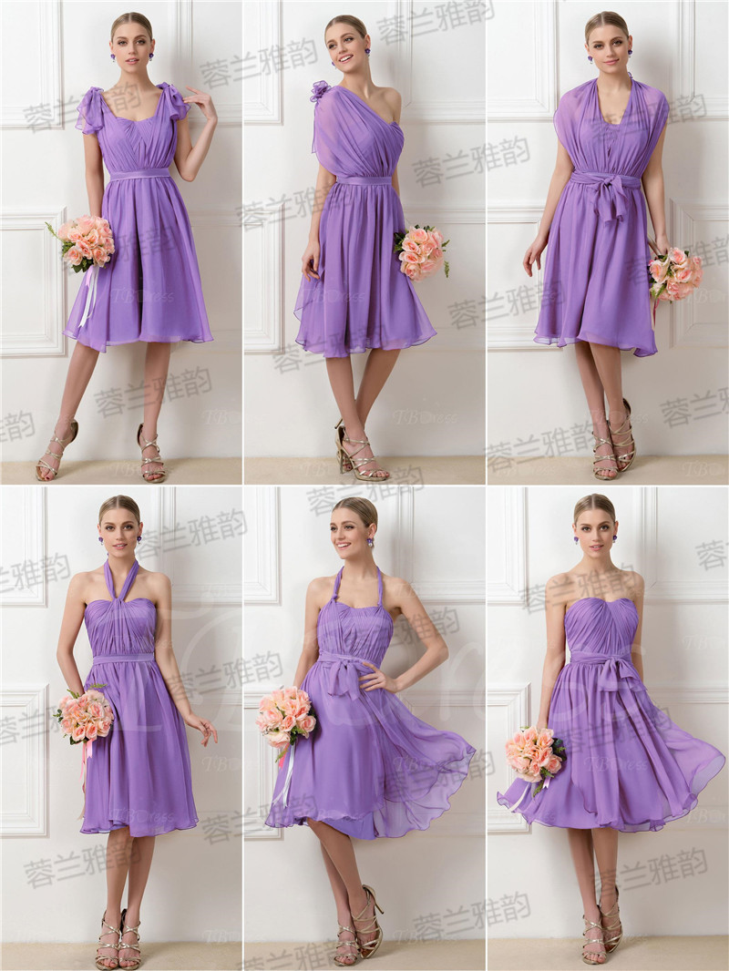 Online get cheap bridesmaid dresses group aliexpress 2016 a multicolor bride toast clothing bridesmaid dress sister group chiffon party dress straps slim short ombrellifo Image collections