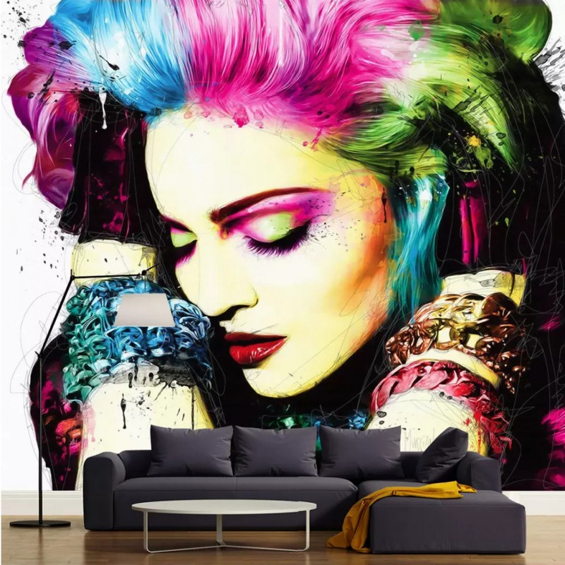Free Shipping 3D watercolor painting art wallpaper personality beauty salon Manicure clothing store theme KTV European bedroom w