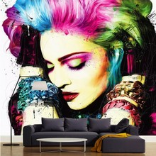 Free Shipping 3D watercolor painting art wallpaper personality beauty salon Manicure clothing store theme KTV European bedroom w free shipping makeup girl wallpaper theme salon clothing store cosmetics shop manicure background wallpaper mural