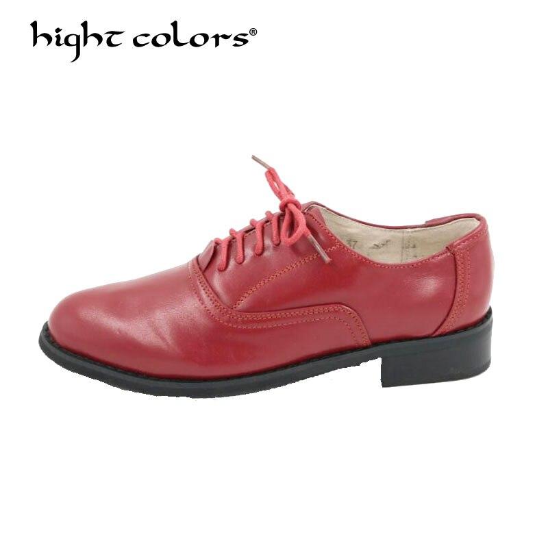 Modestil Große Größe 34-44 Neue 2019 Echtes Leder Lace Up Schuhe Frauen Trendy Stil Farbe Passenden Vintage Oxford Schuhe Für Frauen Hc-788