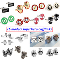 Fashion Super Hero Superhero Ironman Flash Spawn Green Lantern Captain America Spider Cufflink Cuff Link 1 Pair Free Shipping