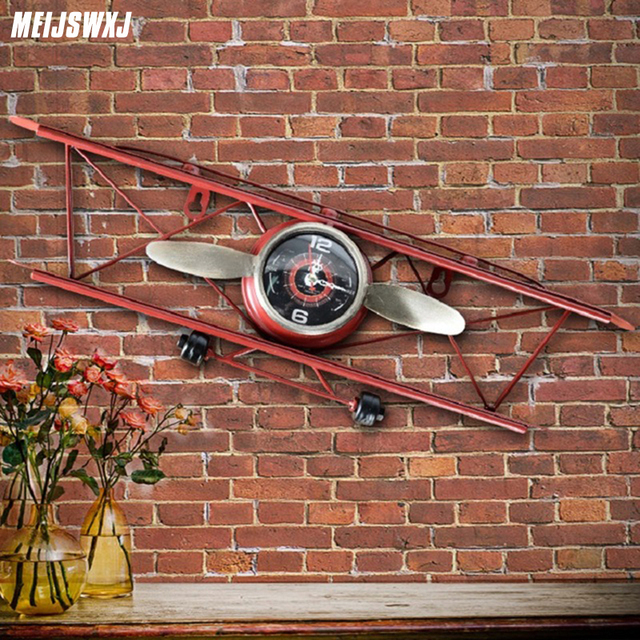 Meijswxj Wall Clock Saat Relogio De Parede Creative Retro Aircraft Model Clock Duvar Saati Living Room Restaurant Wall Clocks