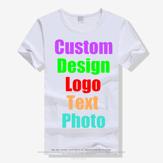 New Fashion Solid Blank Men Male Unisex Family Custom Logo Photo Text  Printing T shirt White Short Sleeve Parent Kid Tees Tops
