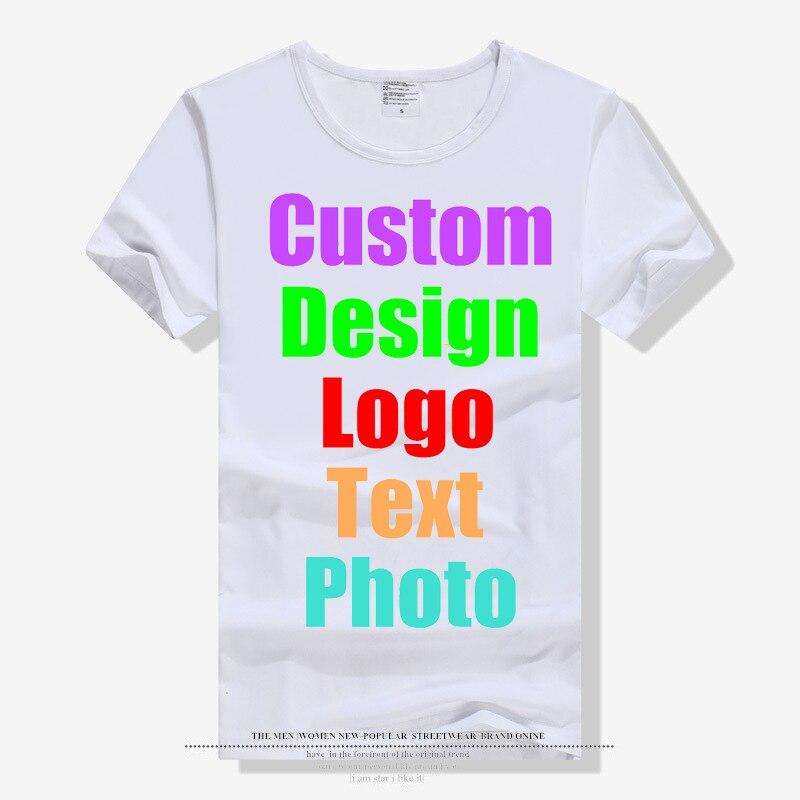 Nueva moda sólido en blanco hombres Unisex familia logotipo personalizado foto texto impresión camiseta blanca de manga corta padres niños camisetas