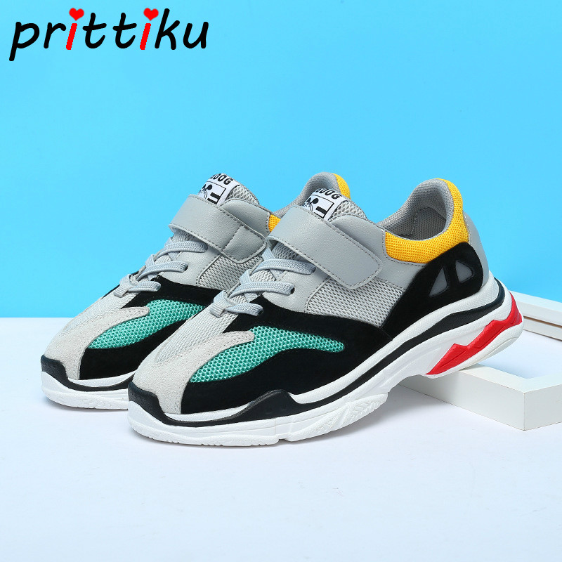 Spring 2018 Toddler Boys Girls Fashion Green Blue Sneakers Little Kid Brand Sport Trainers Big Children School Casual Walk Shoes winter 2018 girls boys plaid high top plush warm lined sneakers baby toddler little kid casual trainers children lace up shoes