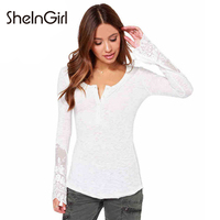 SheInGirl Apparel White Sweet Knit Women Top Tees Casual Slim Mesh Contrast Female T Shirt Lace