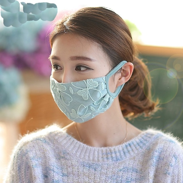 Winter style flower printed cutton Mask keep warm female girl anti PM2.5 cold dustproof for driving Riding Mask Breathe freely