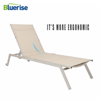 BLUERISE Sun Lounger Chair Outdoor Patio Furniture European style Leisure Chaise Textilene Mesh Fabric 3 positions reclining