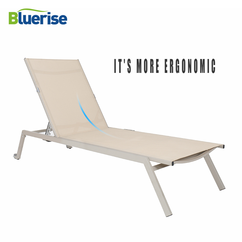 Beach Chaise Folding Couch Sun Lounger European Style Reclining Chair Outdoor Patio Garden Furniture Leisure Chaise BLUERISE цена