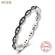 ROXI Brand 925 Silver Ring for Women Elegant Jewelry Fashion Crystal Zirconia Rings Womens Wedding Band Party Finger Ring