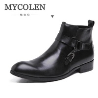 Mycolen Ботинки Челси Для мужчин зимние сапоги из натуральной кожи повседневные ботинки работы Бизнес обувь Для мужчин молнии ковбойские боти