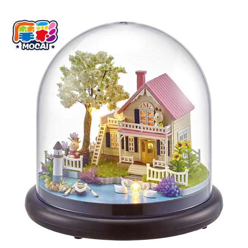 Handmade Doll maison Կահույք Miniatura house Diy Doll- ի տներ Փայտե խաղալիքներ երեխաների համար Ամանորյա նվերներ JHTY042