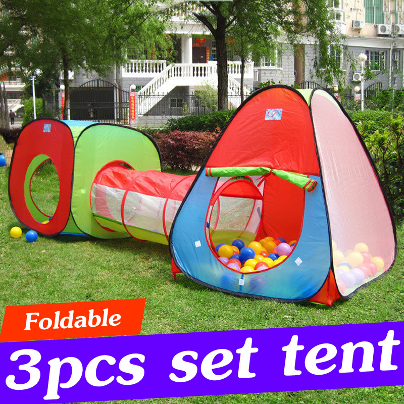 3PCS Baby Play Tent House for Kids Play Tent Indoor Outdoor Game Play Tent With Tunnel Discovery Kids Tents and Playhouse ZP45 outdoor puzzle folding mongolia bag game house tents