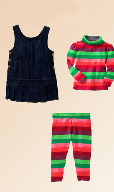 4Pcs Girls Suits 2016 New Autumn striped Baby Sets High Quality Children Clothing 24 Hours Delivery