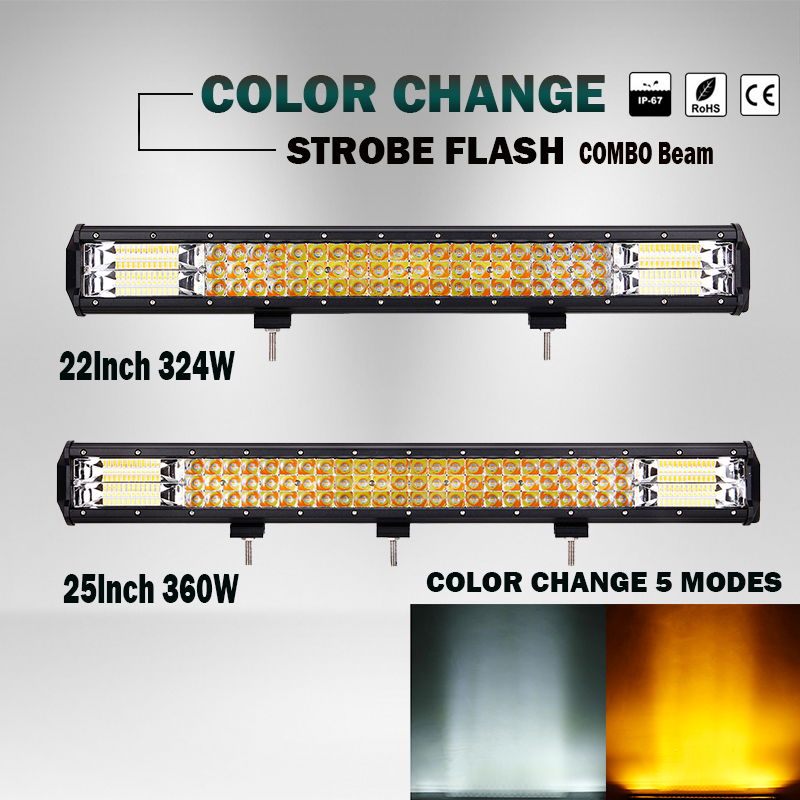 22 Inch 25 Inch 324w 360w Amber Strobe Flash Color Change 5 Modes 12v 24v 4300k 6000k Offroad Led Light Bar Work For Truck Can Be Repeatedly Remolded.
