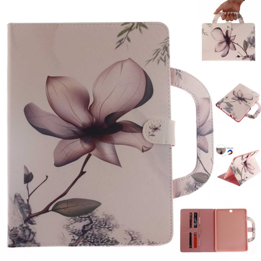 Luxury Floral Print PU Leather Magnet Kickstand Case Cover For Samsung Galaxy Tab S2 T810 T815 T819 9.7 inch Tablet Cases Coque luxury flip stand case for samsung galaxy tab 3 10 1 p5200 p5210 p5220 tablet 10 1 inch pu leather protective cover for tab3